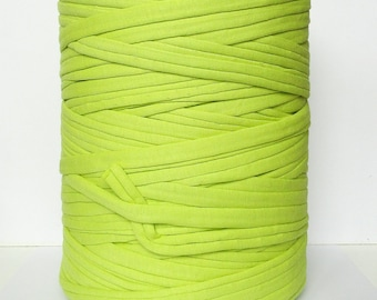 Light lime green Tshirt yarn  120 m ( 131 yards ), recycled cotton yarn, zpagetti yarn, spaghetti yarn, trapillo