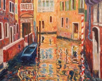 Venice-Venetian Canal-reflections-oil painting, opera unica impressionist style