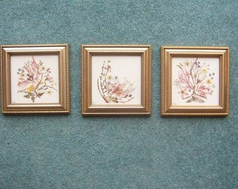 Set of three pressed flower pictures - Victorian style