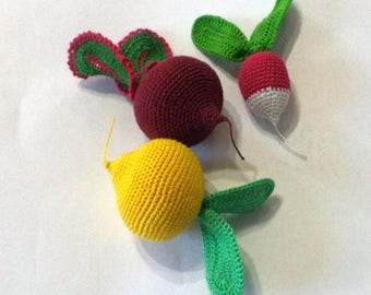 Crochet game board ( 3pc ) Knitted vegetables and fruit, birthday , eco-friendly toys, pretend play , preschool