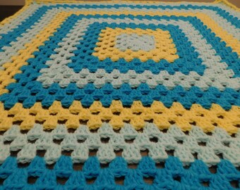 Baby Blanket Granny Square Blue Light Blue Yellow