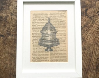 Vintage Book Print Bird Cage Book Page Print in Frame