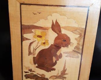wooden rabbit marquetry plaque
