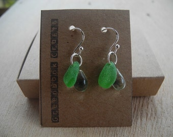 Cornish sea glass, Green sea glass with vintage crystal droplets earrings, Unique gift,