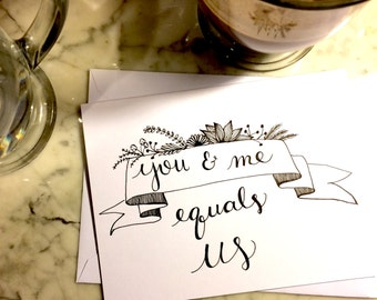 You and Me, hand drawn pen and ink greeting card, valentine's day, anniversary