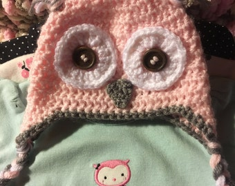 Crocheted owl hat, booties, and blanket set.