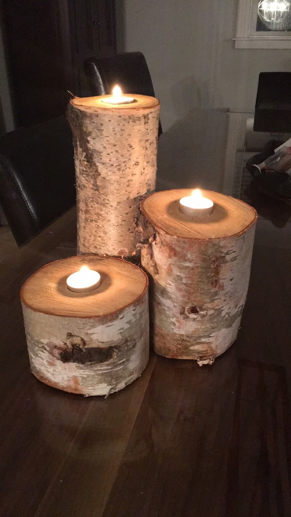3 Solid Birch Candle holders