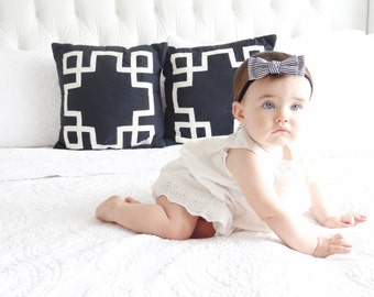 Emma--Nylon Elastic Headband with Black and White Striped Bow