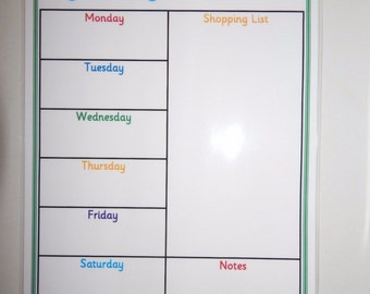 A4 Weekly Meal Planner with shopping list - Homemade - Laminated 160 gsm Card - with Dry Wipe Pen