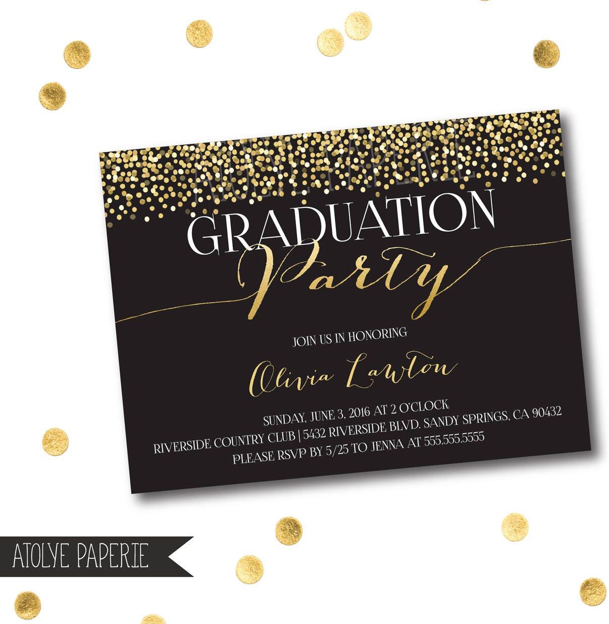 Graduation Party Invitation,Graduation Invite,Black Gold Polka Dots ...