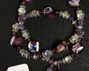 Amethyst, Silver, and Glass Wraparound Bracelet (Large)