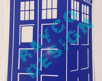 "Tardis Vinyl Decal 3D  6""x3.5"""