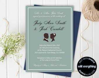 wedding invitation, wedding invitation template,wedding template, formal invitation, editable, 5x7 template, mint green, mauve, silhouette