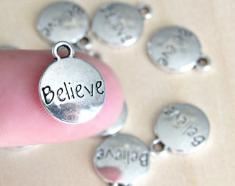 Believe charms, set of 10, word pendant charm, silver believe, believe pendants, believe pendants, faith charms, silver charms, christian