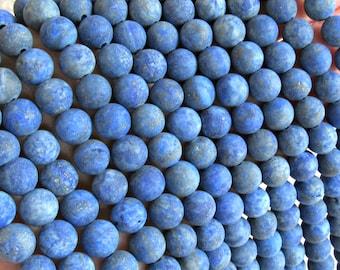 8mm Lapis Lazuli, Frosted Lapis, Matte lapis lazuli, navy blue gemstone, lapis lazuli beads, Lapis 8mm beads, round lapis lazuli, strand