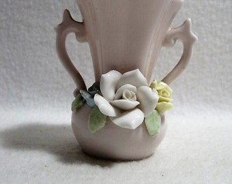 Small Pink Double Handle Vase with Roses - Norcrest Japan