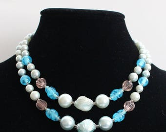 JBN # 14 Two-Strand Necklace with White and Blue Pearl-Like Beads, and Sculpted Amber and Blue Beads Marked Japan