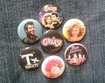 """Grease  button set 1"""" pinback Pink Ladies Rydell High Danny Zuko"""