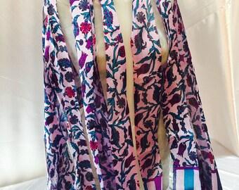 Printed silk scarf. Multicolor scarf. Cloth flowers. Summer shawl.