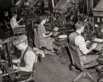 New York Times Photo, Newspaper Composition Room, Linotype Operators, Black and White Photography, September 1942 New York City