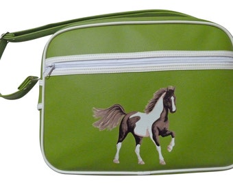 Horse messenger school bag - green