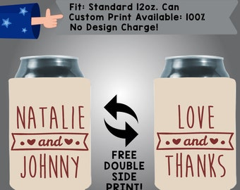 Love and Thanks Collapsible Fabric Wedding Cooler Double Side Print (W21)