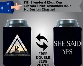 Geometric Cut Out Engagement Wedding Photo Full Color Heat Sub Collapsible Neoprene Can Cooler (HeatSub-7)