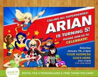 DC Superhero Girls Invitation, DC Superhero Girls birthday, dc Superhero Girls Party, dc Superhero Girls , FREE Thank you Card