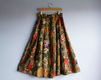 Vintage Floral Maxi Skirt | High waisted 70's pleated skirt | 1970's Boho vtg full length printed maxi dress | Colorful gored panel skirt