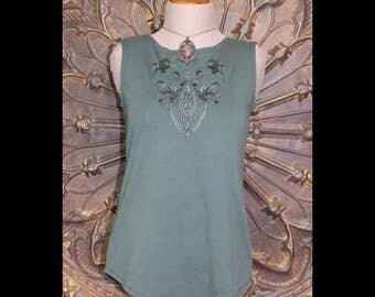 Dark Sage Sleeveless Embroidered Top Women's Dark Sage Green Top Dark Sage Green Tunic Sleeveless Tunic Sleeveless top