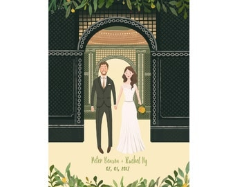 Custom Illustrated Wedding Portrait | Couple Portrait | Custom | Poster | Digital Illustration | Save the Date Card | Valentines day gift