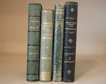 4 Green hardback antique books for decoration, interiors, libraries