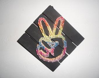Hand Rainbow Peace Sign String Art Wall Decor