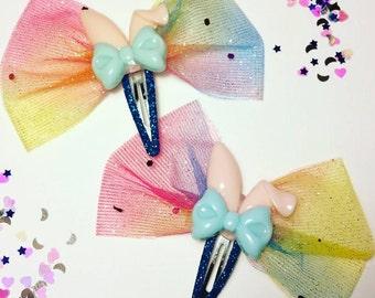 Sparkly rainbow bow snap hair clips with Easter bunny ears