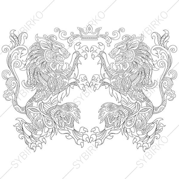 Adult Coloring Pages Heraldic Lion Crest Zentangle Doodle