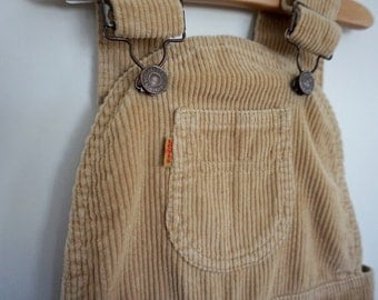 1970s Levis Fawn Colored Overall Dress - Size 8