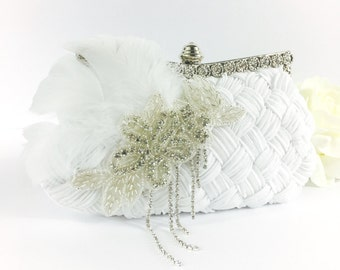 White Bridal Crystal Feather Clutch