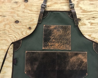Bike Builder/Barber/Barista Canvas and Leather Apron-Army Green And Brown SPLIT LEGS