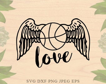 Basketball SVG ball wings Svg sports svg basket ball svg Cut File EPS Dxf Files for Silhouette Studio Cricut Downloads Cricut files