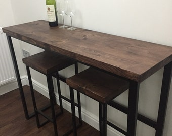 Breakfast Bar with Two Matching Stools Reclaimed Timber and Powdercoated Steel