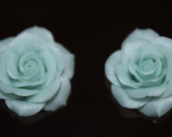 Blue Rose 2 pcs SKY BLUE glamor ROSE  0,78 inch 1,18 inch  Polymer clay flower Jewelry Supplies