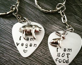 Vegan keyring with cute little pig or bunny