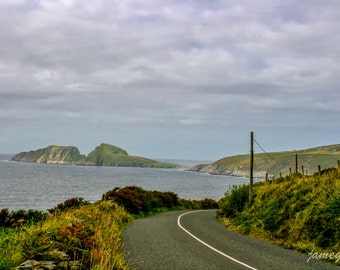 Landscape photography.  Digital file. Instant download.  On the road to Kerry, Ireland, with Irish Sea and mountains in the background.