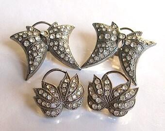 vintage art deco rhinestone earrings 1930 crystal earrings