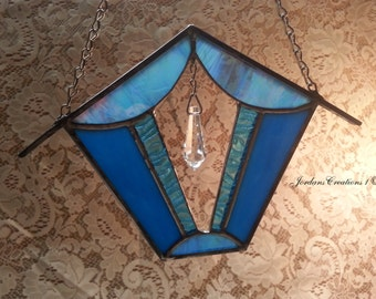 Hanging Turquoise Stained Glass Birdhouse Sun-catcher with Teardrop Jewel; Great Valentine's Day Gift!