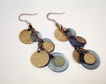 Blue and weathered metal disc dangle earrings