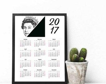 Printable 2017 Wall Calendar, 8.5x11 in, Desk Calendar, Instant Download, Black and White Queen Elizabeth, Printable British Royalty