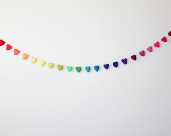 Bright Rainbow Felt Heart Garland