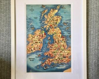Vintage Map of British Isles Educational Enclyclopedia Illustration White Framed