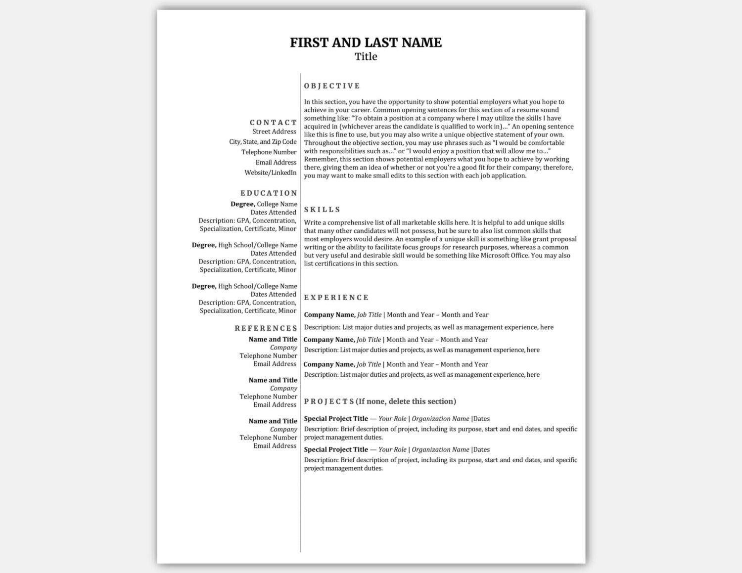 simple compact resume template 1 page resume cv template